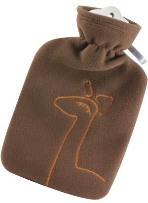 Hugo Frosch Hot Water Bottle Giraffe Fleece Cover Brown 1.8 L