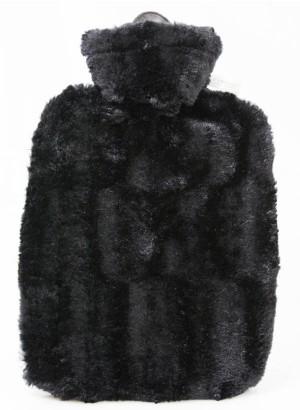 Hugo Frosch Hot Water Bottle Luxury Faux Fur Black Cover 1.8 L