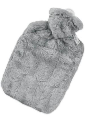 Hugo Frosch Hot Water Bottle Luxury Faux Fur Grey Cover 1.8 L