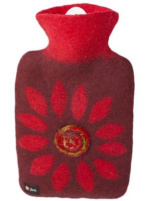Hugo Frosch Hot Water Bottle Luxury Felt Cover Flower 1.8 L