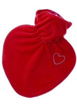 Hugo Frosch Hot Water Bottle Red Heart Fleece Cover 1 L