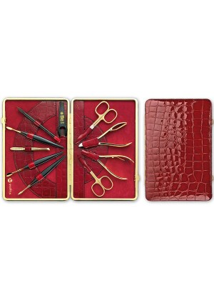 Niegeloh Kroko XL Leather Framed Manicure Set Red 24 ct gold plated