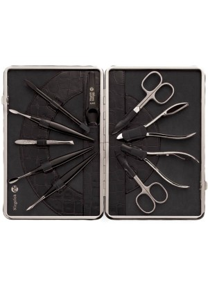 Niegeloh Solingen Kroko XL Leather Manicure Set Black