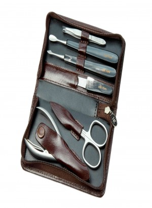 Hans Kniebes Leather Manicure Set Buffalo Horn